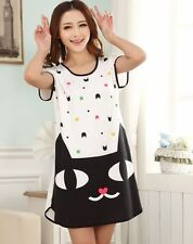 New Women Girl Wide Vest Nightgown Summer Cotton Sleep Dress Sleepshirt