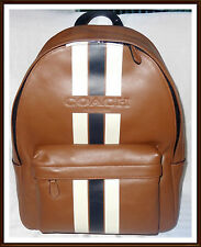 NWT NEW $550 Coach Men's Calf Leather Large Varsity Charles Backpack SADDLE 2016