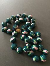 VINTAGE ART DECO GLASS HAND PAINTED BEAD NECKLACE HAND STRUNG FLAPPER STYLE
