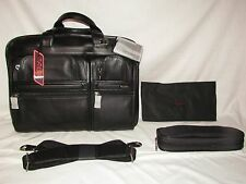 Tumi T-Pass Black Leather Briefcase Laptop Bag Computer Carry-on Luggage Slim