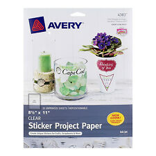 "Avery Repositionable Sticker Project Paper, Clear, 8-1/2"" x 11"" Ink Jet, 10/Pack"