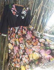Vintage 60's mod floral cotton babydoll dress L spring black pop art kawaii gogo