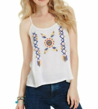 American Rag Embroidered Tank Top Size JUNIOR WHITE XL
