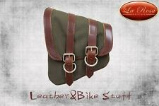 La Rosa All Harley Softail & Rigid Frame Left Canvas Saddle Bag - Army Green