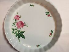 Christineholm Pie Plate Platter White/Green/Pink Roses Country Ceramic