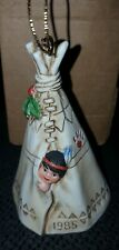 "NIB! ""1985 PERILLO SAGEBRUSH KIDS~CHRISTMAS TEEPEE BELL"" CHRISTMAS ORNAMENT"