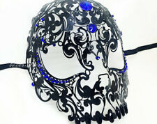 Black Venetian Filigree Skull Masquerade Mask Halloween Masked Ball BLUE Stones