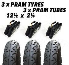 """3 x Pram Tyres & 3x Tubes 12 1/2 X 2 1/4"""" I'COO Platon Bob Motion Chicco Concord"""