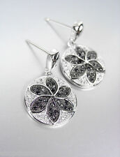 CLASSIC 18kt White Gold Plated Clear Black CZ Crystals Petite Dangle Earrings