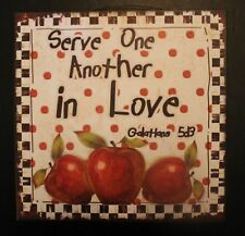 Apple Wall Sign Picture Metal Galatians 5:13 Old Country or Cabin Decor Gingham