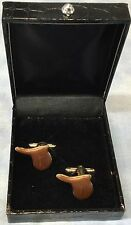 English Saddle Equestrian Cuff Link Costume Jewelry Set