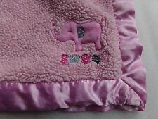 Carters Just one U Sweet Pink Elephant Sherpa Satin Polka Dot Minky Baby Blanket