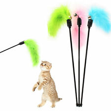 Funny Kitten Pet Teaser Turkey Feather Wand Toy Cat Jump Chaser Activity Toys