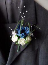 6 Dark Blue & Ivory Rose Corsage Buttonhole Wedding Flowers Artificial