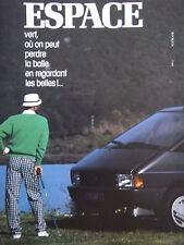PUBLICITÉ DE PRESSE 1986 RENAULT ESPACE - ESPACE VERT - GOLF - ADVERTISING