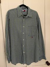 Tommy Jeans Tommy Hilfiger Button Down Shirt, Green & Blue Plaid, Extra Large XL