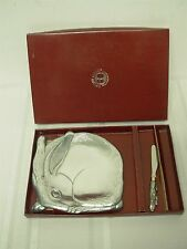"""1988 ARTHUR COURT 6 3/4"""" BUNNY RABBIT CHEESE PLATE with RABBIT CHEESE KNIFE MIB!"""