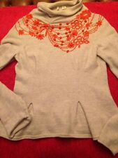 Anthropologie Moth Sweater Cowl Turtleneck Embroidered Flower Pleats Small Bow