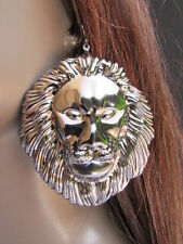 "WOMEN FASHION PEWTER METAL EARRINGS SET 3""/3"" HUGE LION HEAD BIG CIECLE 3"" DROP"