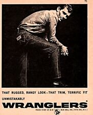 VINTAGE AD WRANGLERS JEANS BLUE BELL COOL JAMES DEAN TYPE HANDSOME MAN