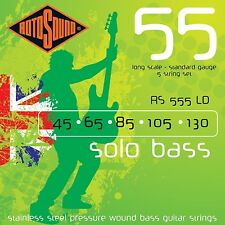 ROTOSOUND 5 STRING RS555LD PRESSURE WOUND STEEL BASS GUITAR STRINGS 45-130