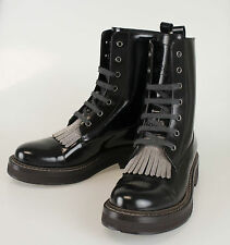 New BRUNELLO CUCINELLI Black Patent Leather Boots Shoes Size 38.5/8.5 $2220