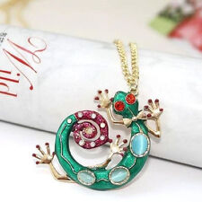 New Colorful Green Crystal Gecko Lizard Charms Pendant Necklace
