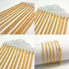 12Pcs Wholesale Lot 18K Gold Plated Chain Necklace Women Jewelry 17.29 Inch