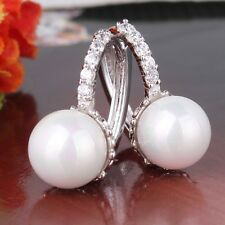 18K white gold filled pearl& white sapphire WELL-LIKED FIT leverback earring