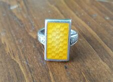 Ostby & Barton Antique Ring- Sterling Silver,Orange, Butterscotch Enamel,Titanic