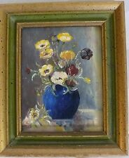 MINIATURE PAINTING FLORA FLOWERS IN A VASE ON ARTISTS MATTE BOARD NEW YORK