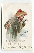Cynicus - Scottish man - You claw my back & I'll claw yours - old comic postcard