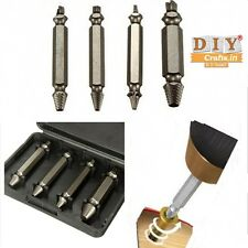 DIY Crafts®4n1 Broken Bolt Damaged Remover Screw Extractor Drill Bits Guide Setd