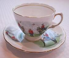 ROYAL VALE Bone China Cup & Saucer - Canada Scenes, Mountie/RCMP, Canoe