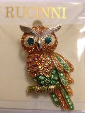 Rucinni Rhinestone Owl Pin Brooch - Very Pretty! - New in Package!