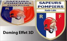 1 STICKER SAPEUR POMPIER RECOUVERT DE RESINE EFFET 3D 8X6CM Haute-Loire