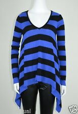 INC New Black Striped Ribbed Asymmetric Knit Pullover Sweater MSRP $69 Size XS