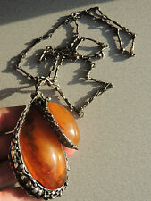 HUGE ARTISAN HONEY BUTTERSCOTCH AMBER AND SILVER NECKLACE 124 Grams