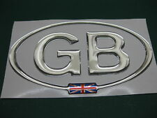 1 GB OVAL CHROME DOME CAR STICKER with Union Flag in the oval 135mm X 73mm