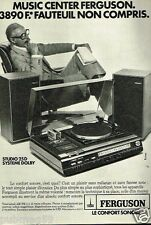 Publicité advertising 1977 Chaine Hi Fi Platine Tuner studio Ferguson