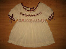 LADIES ODD MOLLY 481 EMBROIDERED STRIPE CREAM BEIGE SHORT SLEEVE TOP SIZE 1 – S