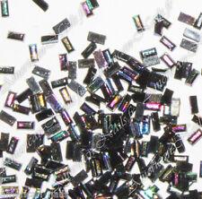 100 Bijoux d'Ongles Strass LINGOTS Noir Irisé Nail Art