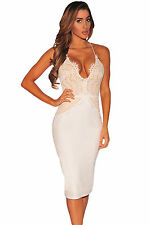 Abito cono nudo pizzo ricamato aderente Spacco Lace Nude Illusion Halter Dress M