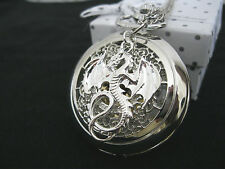 New Dragon Fantasy Steampunk Goth Silver Quartz Pocket Watch Necklace Gift