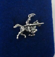 Sterling Silver 3D 17x22mm Knight in Shining Armor on Horse Charm