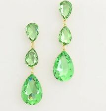 "3"" Light Lime Green Peridot Gold Long Dangle Crystal Rhinestone Wedding Earrings"