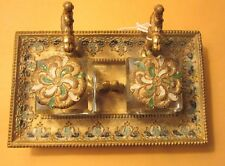 Antique Victorian Solid Brass Double Ink Well & Pen Rest