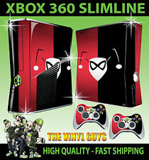XBOX 360 SLIM HARLEY QUINN LOGO RED BLACK BATMAN STICKER SKIN & 2 X PAD SKINS