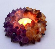 Citrine/Amethyst TeaLight candle Holder Tea light Crystal Geniune Gemstones