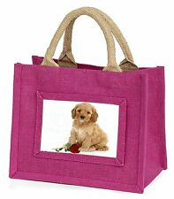 Cockerpoodle Puppy with Red Rose Little Girls Small Pink Shopping Ba, AD-CP6RBMP